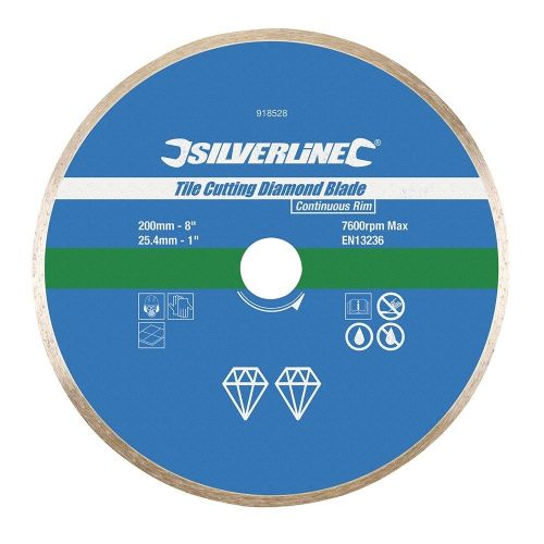 Silverline 918528 Tile Cutting Diamond Blade Disc 200mm x 25.4mm Continuous Rim